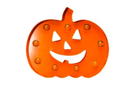 BAT-3DPKN-OR - Battery Operated Metal 3D Pumpkin LED Orange