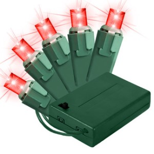 BAT-50MMRE-4G - 5MM conical Battery Operated  Red LEDs  50 count lights set on green wire WITH 8 FUNCTION CONTROLLER