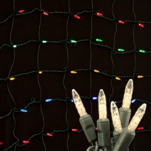 M5 4'x6' Warm White LED Net Light, Green Wire