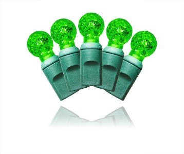 S-70G12GR-4G - 70 Count Standard Grade G12 Faceted Green LED Light Set with in-line rectifer on Green Wire
