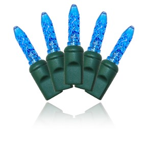 S-70M5BL-4G - 70 Count Standard Grade M5 Faceted Blue LED Light Set with in-line rectifer on Green Wire
