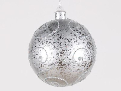 WL-BALL-140-SLV - 140MM Silver Ornament Ball with Silver Glitter Design