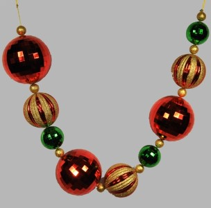 WL-BGAR-06-GRG - 6' Green, Red and Gold Ball Garland
