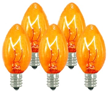 C7 Dimmable Incandescent Transparent Orange/Amber Bulbs E12 Base