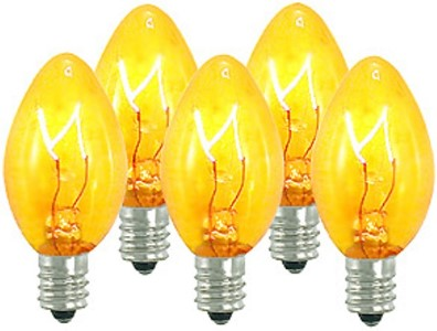 C7 Dimmable Incandescent Transparent Yellow Bulbs E12 Base