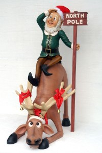 WL-DEER-60-ELF-SIT; Polyresin Funny reindeer with elf