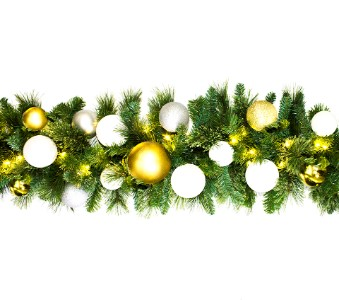 WL-GARBM-09-CDY-LWW;  9' Pre-Lit Warm White  LED Blended Pine Garland Decorated with The TREASURE Ornament Collection