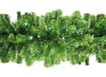 WL-GARSQ-09-LPW;  9' Pre-Lit LED Pure White Sequoia Garland