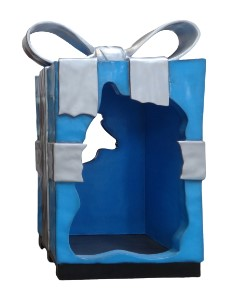 8' Blue Gift Box with Silver Bow, Photo Op