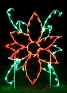 LED Poinsettia Flower Ground Mount