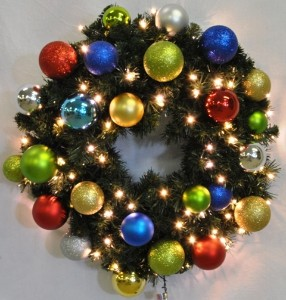 4' Pre-Lit Warm White LEDS Blended Pine Wreath Decorated with The Fiesta Ornament Collection