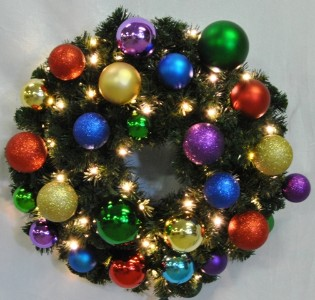 4' Blended Pine Wreath Decorated with The Royal Ornament Collection Pre-Lit Warm White LEDS