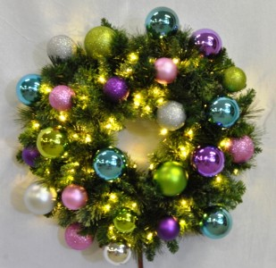 4' Pre-Lit Warm White LED Blended Pine Wreath Decorated with the Victorian Ornament Collection