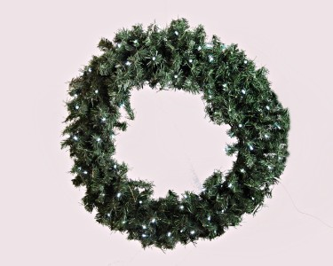 2' Pine Wreath Pre-Lit with Pure White LED Lights