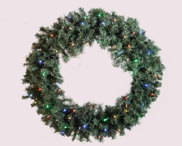 2.5' Pine Wreath Pre-Lit with Warm White LED Lights