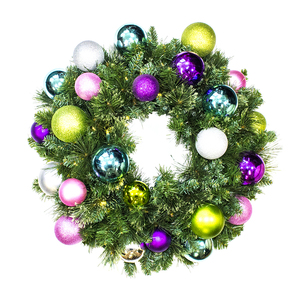 WL-GWSQ-02-VIC-LWW -  2' Pre-Lit Warm White LED Sequoia Wreath decorated with The Victorian Ornament Collection