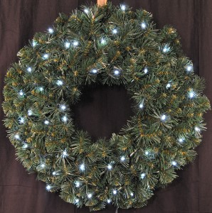 3 pre lit battery operated cool white led sequoia wreath - Pre Lit Christmas Wreaths Battery Operated