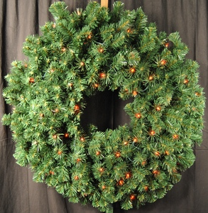 WL-GWSQ-03-LRE -  3' Pre-Lit Red LED Sequoia Wreath