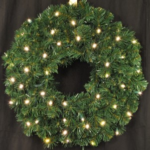 3' Pre-Lit with Warm White LEDS Sequoia Wreath