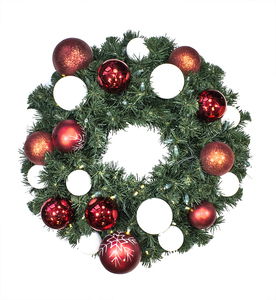 WL-GWSQ-04-CDY-LWW -  4' Pre-Lit Warm White LED Sequoia Wreath decorated with The Candy Ornament Collection