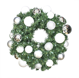 WL-GWSQ-05-ICE-LWW -  5' Pre-Lit Warm White LED Sequoia Wreath decorated with The Ice Ornament Collection