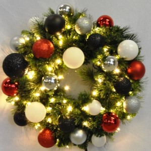 WL-GWSQ-05-MOD-LWW -  5' Pre-Lit Warm White Sequoia Wreath decorated with The Modern Ornament Collection