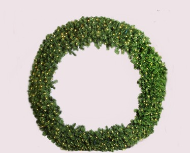 8' Pre-Lit with Pure White LED's Sequoia Wreath