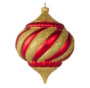 WL-ONION-100-TRAD - 100MM Onion Ornament Traditional Collection Red And Gold