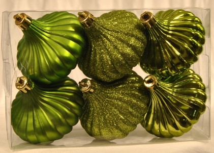 WL-ONION-R-6PK-LG - 6Pk Lime Green Rigid Shatterproof Onion Ornaments