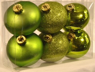 WL-ONION-S-6PK-LG - 6Pk Lime Green Smooth Shatterproof Onion Ornaments