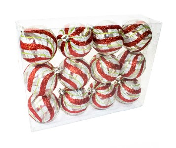 Clear Ball Ornament with Red, Silver and Green swirl design 12pk