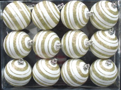 12pk Gold and White Ball Ornament with Line Design