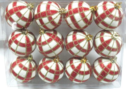 12pk White Ball Ornament with Red and Gold Plaid Design