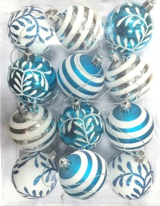 WL-ORN-12PK-SFLN-AQ - Aqua and White Ball Ornament with snowflake and line glitter design