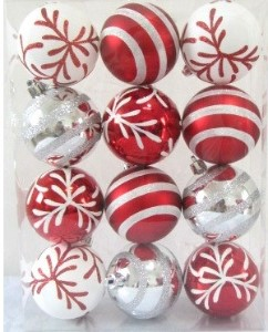 12pk Red and White Ball Ornament with Snowflake and Line Glitter Design