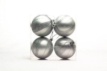 WL-ORN-4PK-SPL-SLV - Silver Ball Ornament with Spiral Design 4 pack