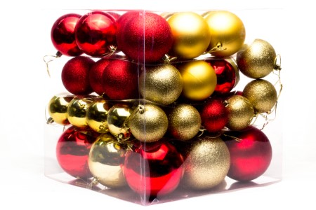 WL-ORN-62PK-RG - 62PC Ball Ornament Set Red and Gold