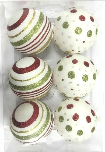 WL-ORN-6PK-LD-GRG - White Ball Ornament with Gold, Red and Green dot and line design 6pk