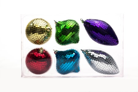 Gold, Silver, Red, Blue, Green and Purple Mirrored Ornament Set, 6PK