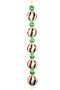 5' Red, Green and Silver Ball Ornament Garland