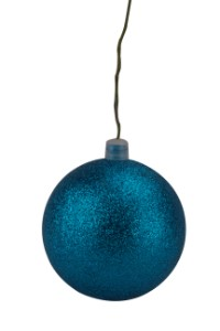 WL-ORN-BLKG-100-AQ-W - 100mm Glitter aqua ball ornament with wire