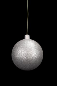 WL-ORN-BLKG-100-SLV-W - 100mm Glitter Silver ball ornament with wire
