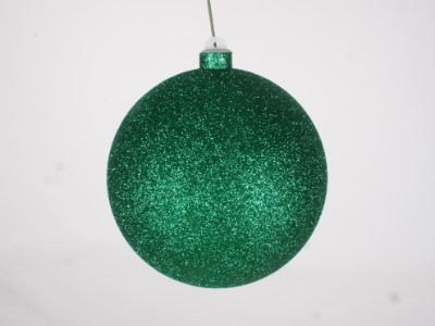 WL-ORN-BLKG-140-GR-W - 140mm Glitter Green ball ornament with wire