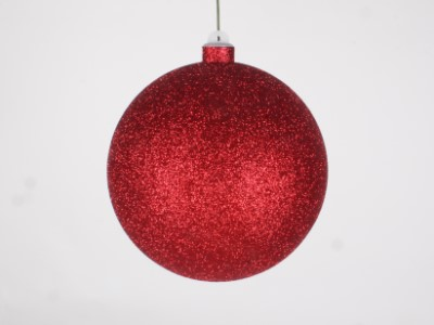 WL-ORN-BLKG-140-RE-W - 140mm Glitter Red ball ornament with wire