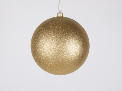 WL-ORN-BLKG-200-GO-W  - 200mm Glitter Gold ball ornament with wire