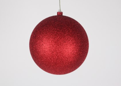 WL-ORN-BLKG-200-RE-W - 200mm Glitter Red ball ornament with wire