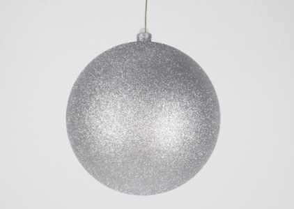 WL-ORN-BLKG-200-SLV-W - 200mm Glitter Silver ball ornament with wire