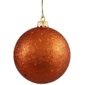 WL-ORN-BLKG-60-CO-W - 60mm Glitter Copper ball ornament with wire