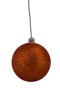 WL-ORN-BLKG-60-OR-W - 60mm Glitter Orange ball ornament with wire