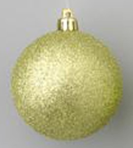 WL-ORN-BLKG-60-SG-W - 60mm Glitter Sage Green ball ornament with wire
